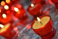 Candles in catholic church Royalty Free Stock Photo