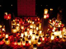 Candles at the cemetery. Royalty Free Stock Photography