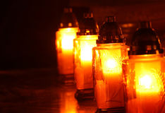 Candles in the cemetery. At night Stock Photos