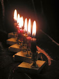 Candles of Chanukkah. Close up of eight Chanukkah candles royalty free stock photography