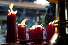 Candles in a Chinese Temple stock photography