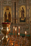 Candles in christian church Royalty Free Stock Images