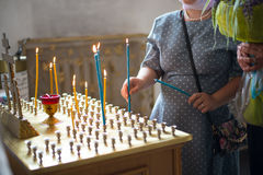 Candles in the Christian Church. Candles are lit in the Christian Church Stock Photography