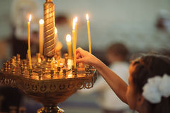 Candles in christian church ortodox. Peaceful interior Royalty Free Stock Photo