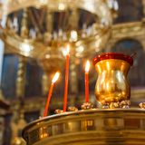 Candles in christian church Stock Image