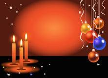 Candles and Christmas balls Royalty Free Stock Photos