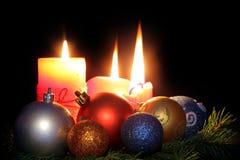 Candles and christmas balls Stock Photo