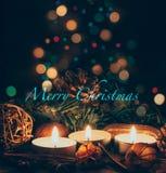 Candles Christmas card Stock Photos