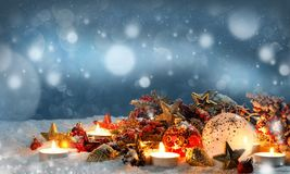 Candles with christmas decoration royalty free stock image