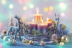 Candles and christmas decoration stock images
