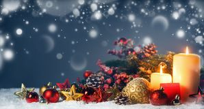 Candles with christmas decoration royalty free stock photo