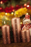 Candles with christmas decorations in atmospheric light Stock Photo