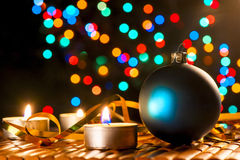 Candles and Christmas decorations Royalty Free Stock Photography