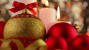 Candles and Christmas Decorations. Close-Up stock video