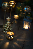 Candles and Christmas decorations, text space Royalty Free Stock Photos