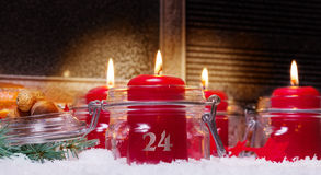 Candles on Christmas Eve Stock Photos