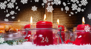 Candles on Christmas Eve Royalty Free Stock Photos