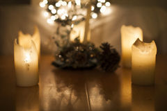 Candles, Christmas lights and decoration in bokeh, out of fokus Stock Image
