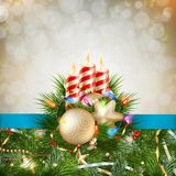 Candles and Christmas ornaments. EPS 10 Royalty Free Stock Photography