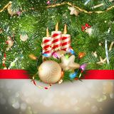 Candles and Christmas ornaments. EPS 10 Royalty Free Stock Photo