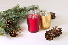 Candles and christmas tree. On the white background Stock Photography