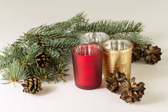 Candles and christmas tree. On the white background Stock Photo