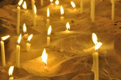 Candles in a church 2. Candle sacrifices in a church Royalty Free Stock Image