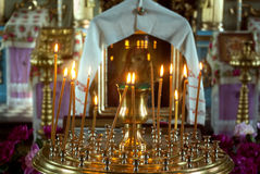 Candles in church Stock Images