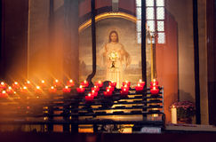 Candles in the church. In front of the icon Stock Image