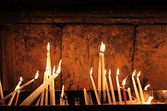 Candles at Church of the Holy Sepulchre - Golgotha Stock Image