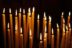 Candles in the Church. (candles for the living and the dead royalty free stock photo