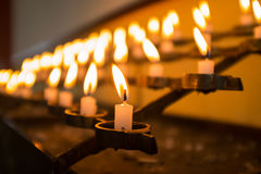 Candles in church. Macro Royalty Free Stock Images