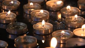 Candles in church of the Nativity in Bethlehem, Palestinian National Authority stock video
