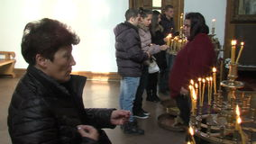 Candles in the church of St. Petka in Rupite, Bulgaria. Temple of Saint Petka built Vanga, Bulgarias tourist attractions, a place of pilgrimage for fans in stock video footage
