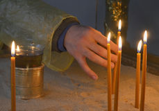 Candles in Church Worship Royalty Free Stock Images