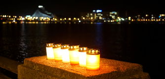 Candles and city panorama Royalty Free Stock Images
