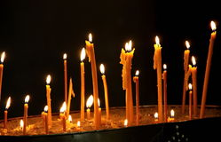 Candles closeup in church Royalty Free Stock Photo