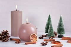 Christmas decoration. Candles for cold weather. Christmas celebration or cold winter concept with copy space stock photography
