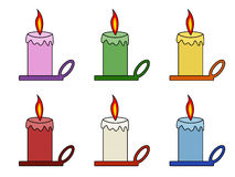 Candles collection. Set of multicolor candles: pink, green, yellow, red, white and blue Royalty Free Stock Image