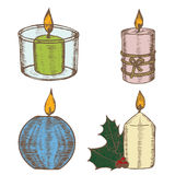 Candles Color Set Hand Draw Sketch. Vector. Candles Color Set Hand Draw Sketch Old Decoration and Retro Design. Vector illustration Stock Photos