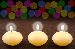 Candles and colorful blur Royalty Free Stock Image