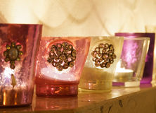 Candles in colorful bowls Royalty Free Stock Photo