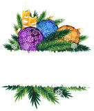 Candles and colorful Christmas balls. Colorful Christmas baubles and burning candles. Christmas composition with place for text royalty free illustration