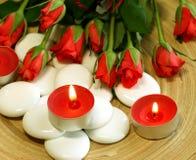 candles composition roses spa πέτρες στοκ εικόνες με δικαίωμα ελεύθερης χρήσης