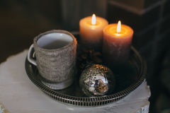 Candles and cup of tea Royalty Free Stock Image