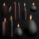 Candles 3D realistic black set flame burning vector transparent background. Candles set 3D realistic isolated flame burning on vector transparent background Stock Photography