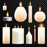 Candles 3D realistic set flame burning vector transparent background. Candles flames set 3D realistic isolated burning on vector transparent background Stock Photo