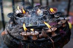 Candles at Dakshinkali Temple, Nepal Stock Images