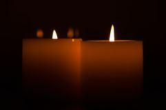 Candles in the dark Stock Images