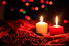 Candles on a dark background stock photos